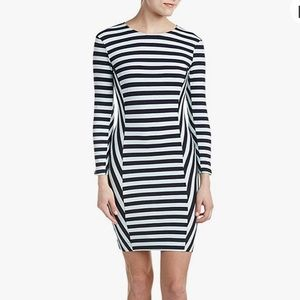 French Connection Mint and Navy Striped Dress